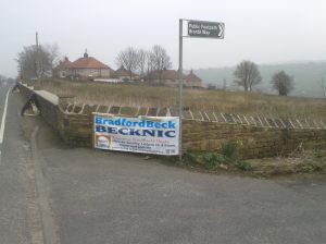 Look out for our banner next to the Bronte Way signpost.