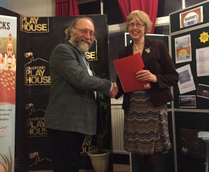 The winner Jane Callaghan being presented with her prize by Colin Fine at Bradford Playhouse.